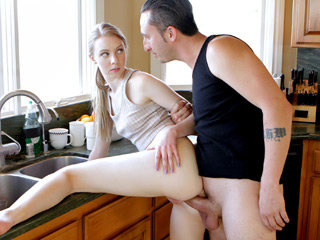 Small sexy pretty girl Abi Grace gets banged by her step brother