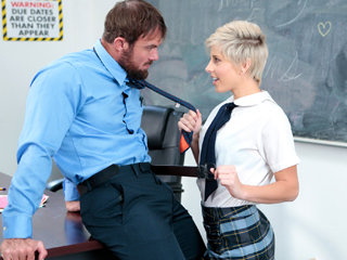 Shy cute short haired blonde schoolgirl Makenna Blue gets banged