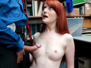 Cute shoplifter girl Krystal gets a disciplinary fuck by a mall LP officer
