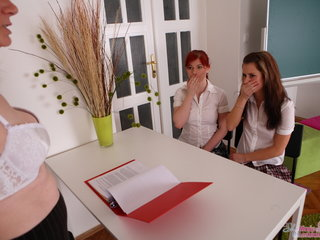 Gloria and her sexy friend are brought into the classroom and look very pretty in the room