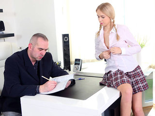 Horny student seduces her teacher with her tight body